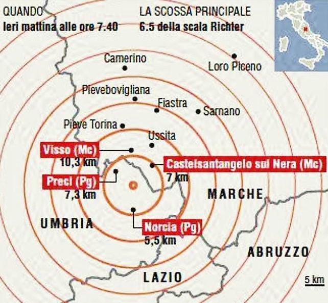 Epicentro Terremoto 29 ottobre 2016